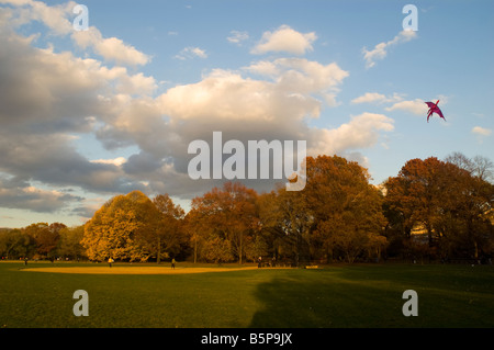 The Great Lawn in Central Park in New York with fall foliage on Sunday November 9 2008 Richard B Levine - Stock Photo