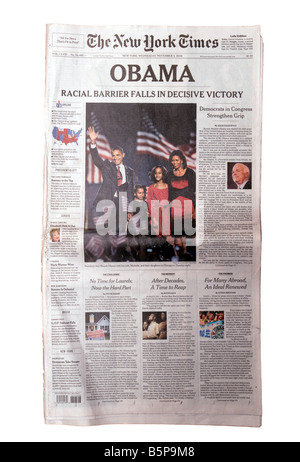 Headline of the New York Times in New York on Wednesday November 5 2008 the day after election day - Stock Photo