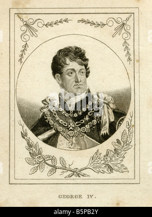 Antique engraving of George IV. - Stock Photo