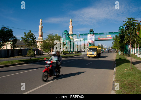 Main street in Banda Aceh, Sumatra after rebuilding from Tsunami - Stock Photo