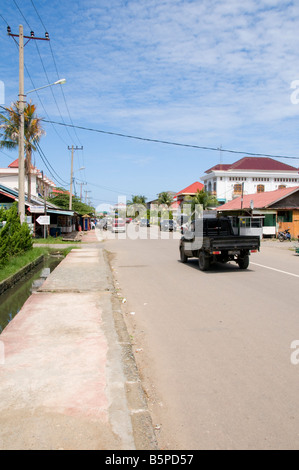 Street in Banda Aceh, Sumatra after rebuilding from Tsunami - Stock Photo