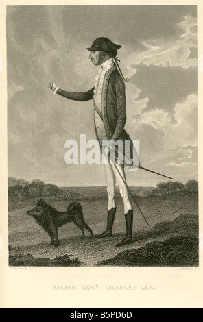 Antique engraving of Major General Charles Lee. - Stock Photo