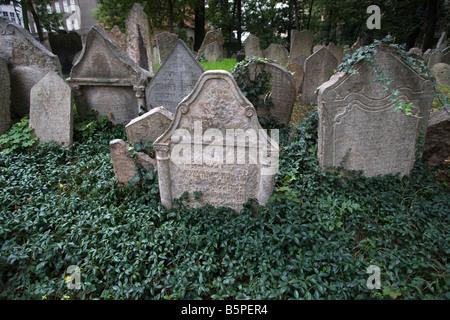 CROWDED TOMBSTONES OLD JEWISH CEMETERY JOSEFOV JEWISH QUARTER PRAGUE CZECH REPUBLIC - Stock Photo
