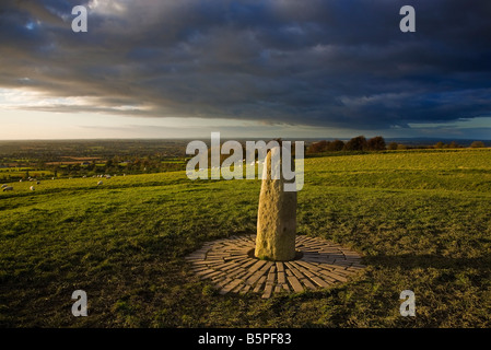 The Lia Fail Standing Stone markS the graves of 37 people killed in the 1798 insurrection, Hill of Tara, County - Stock Photo
