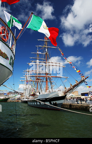 Tall Ships moored at Liverpool prior to the Tall Ships Race - Stock Photo