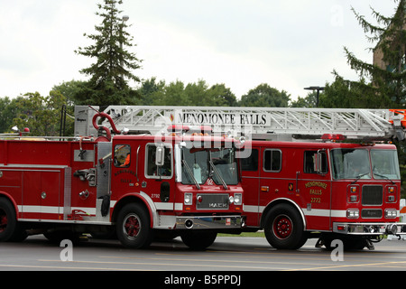 Menomonee Falls Fire Department apparatus parked on display at the Fire Safety Fair Wisconsin - Stock Photo