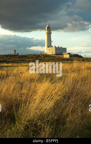 Flamborough Head Lighthouse, East Yorkshire - Stock Photo