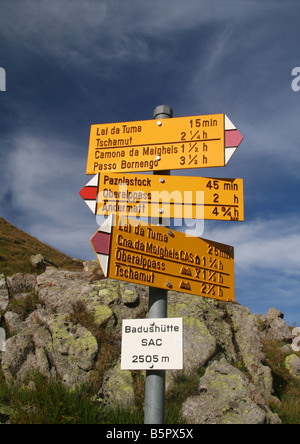 Signpost at the Lai de Tuma circuit - Stock Photo