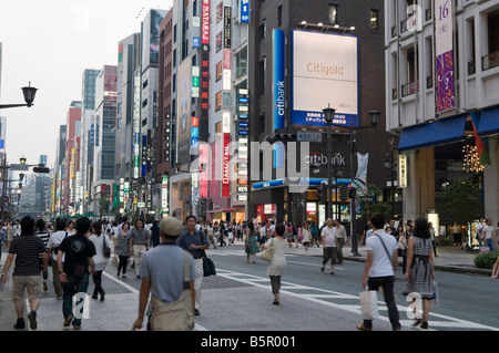 Crowded Ginza District in Tokyo - Stock Photo