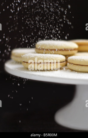alfajores (latin american cookies stuffed with dulce de leche) - Stock Photo
