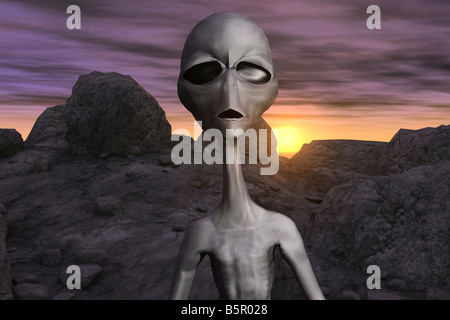 Computer Generated Image Of An Alien - Stock Photo
