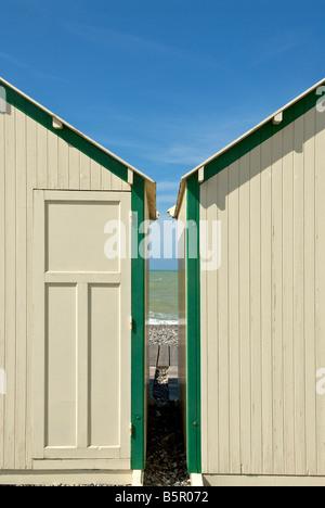 Beach cabins on Atlantic coast - Stock Photo