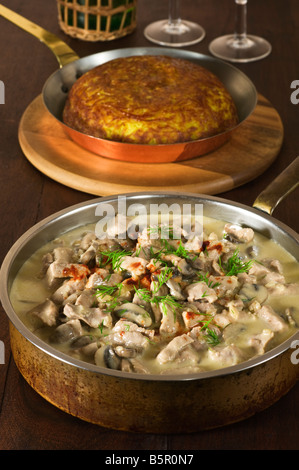 Veal Zurich style with rosti potatoes Switzerland Food - Stock Photo