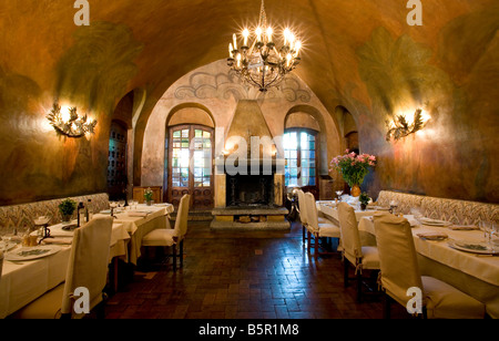 Fireplace Dining Room, Le Canard Hotel, Haut de Cagnes France - Stock Photo