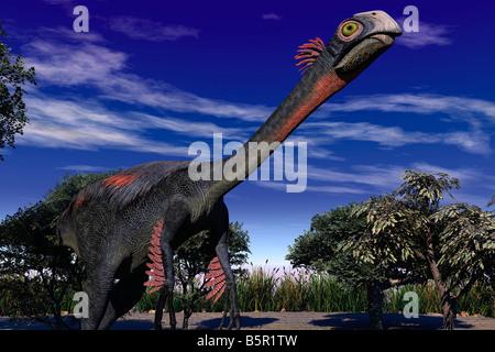 Computer Generated Image Of A Gigantoraptor Dinosaur - Stock Photo