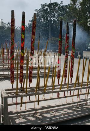 Incense sticks burning at Po Lin Monastery Lantau Island Hong Kong  April 2008 - Stock Photo