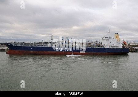 Oil Tanker Anemos 1 berthed in Southampton Water - Stock Photo