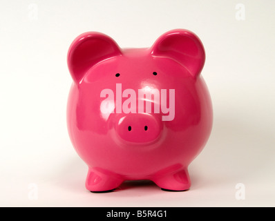 A studio shot of a pink piggy bank, money box, front view, full length, horizontal, colour image, color image - Stock Photo