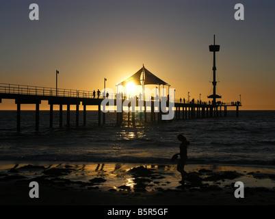 Brighton Jetty Sunset - Stock Photo