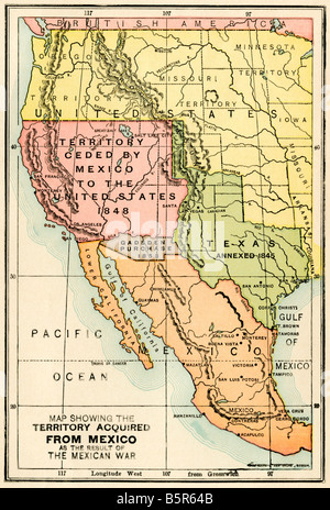 map of territory acquired by the united states in the mexican us war stock