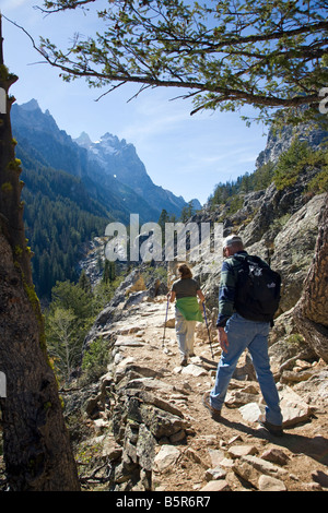 Hiker/s on the trail in Cascade Canyon, Grand Teton National Park,; Wyoming; USA - Stock Photo