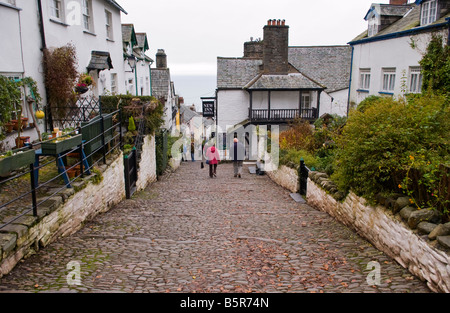 View down steep cobbled street in the pretty coastal village of Clovelly North Devon England UK - Stock Photo