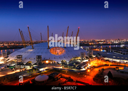 02 arena millenium dome greenwich london at dusk - Stock Photo