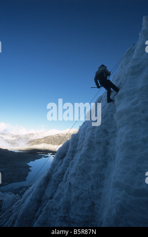 Ice climbing, Mt Huayna Potosi, Cordillera Real, Bolivia - Stock Photo