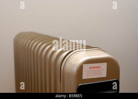 A safety warning sticker on a radiator being sold second hand - Stock Photo