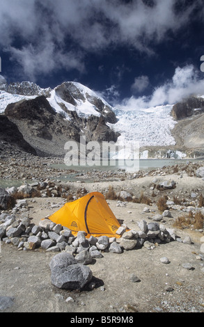 Campsite at Laguna Glaciar, Cordillera Real, Bolivia - Stock Photo