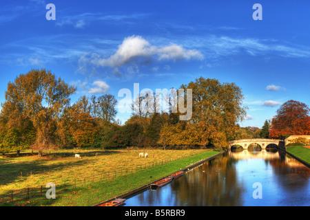 View towards Clare Bridge in Cambridge England - Stock Photo