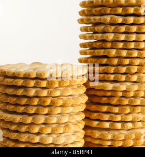 PILE STACK CRACKER BISCUIT BISCUITS - Stock Photo