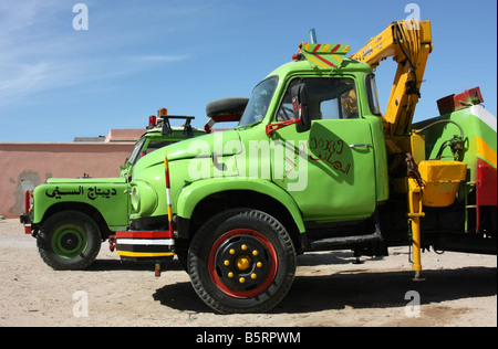 Vintage breakdown trucks in Dakhla Western Sahara - Stock Photo