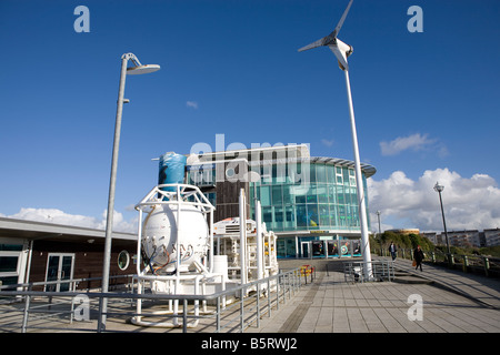 national marine aquarium.  coxside Plymouth Devon southwest showing wind turbines windmills and north sea oil components - Stock Photo