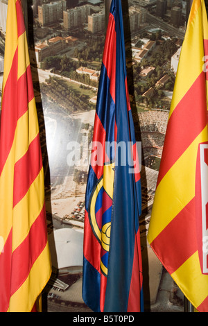 football club fans fc barcelona catalonia flags nationalism - Stock Photo