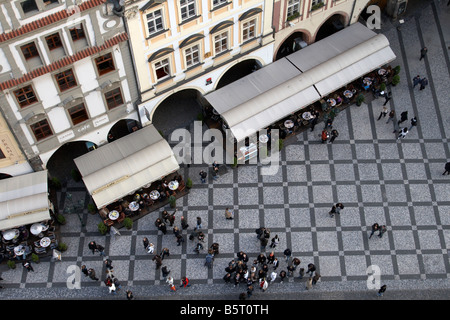 View of Old Town Square from the Old Town Hall Tower at the Old Town Square (Staroměstské náměstí), Prague - Stock Photo