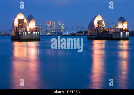 UK London Canary wharf viewed from the Thames Barrier - Stock Photo