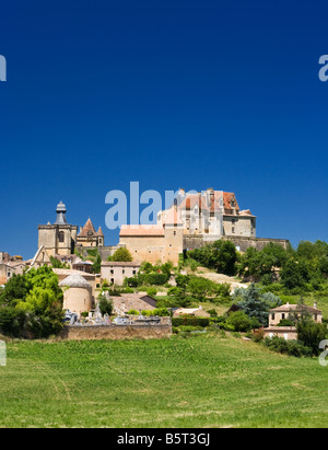 Chateau de Biron a typical French middle ages chateau in the Dordogne region of France Europe - Stock Photo