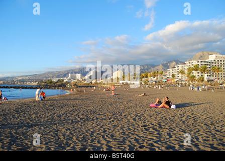 Playa Las Cuevitas at sunset, Playa de las Americas, Tenerife, Canary Islands, Spain - Stock Photo