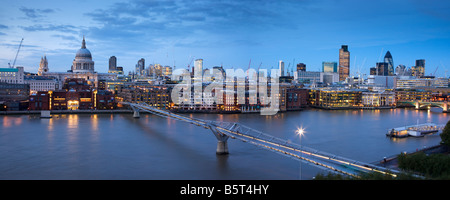 UK London St Pauls Cathedral and the city Skyline viewed over the river Thames - Stock Photo