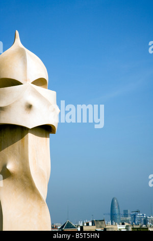 Chimneys of Casa Mila Barcelona, the exterior of this iconic building designed by Antoni Gaudi