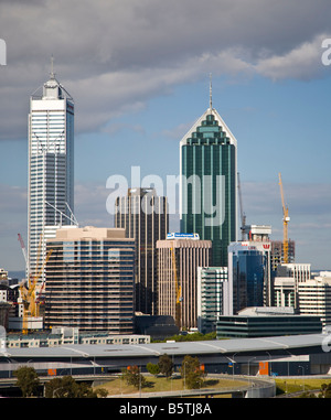 Perth city skyline from Kings Park - Stock Photo