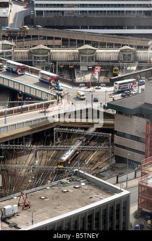 New Street Railway Station Birmingham aerial view - Stock Photo