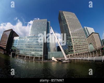 Former Lehman Brothers UK headquarters London Bank Street Canary Wharf London UK - Stock Photo