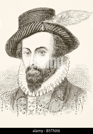 Sir Walter Raleigh circa 1554 to 1618 English adventurer and writer - Stock Photo