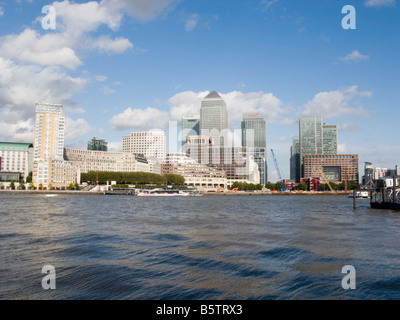 UK London Canary Wharf Financial District viewed over the River Thames - Stock Photo
