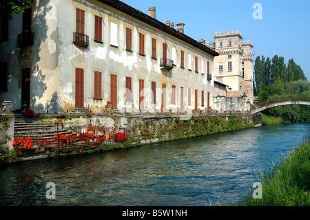 Villa Gaia and Palazzo Archinto  Robecco Sul Naviglio  Naviglio Grande  Lombardy  Italy - Stock Photo