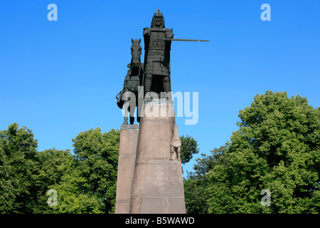 Statue of the Grand Duke Gediminas, founder of Lithuania in Vilnius, Lithuania - Stock Photo