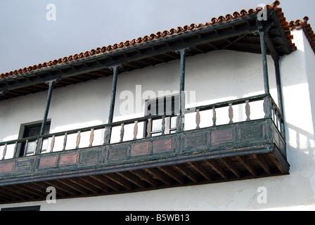 Wooden balcony, Basilica de Nuestra Senora de Candelaria, Candelaria, Santa Cruz de Tenerife, Tenerife, Canary Islands, Spain