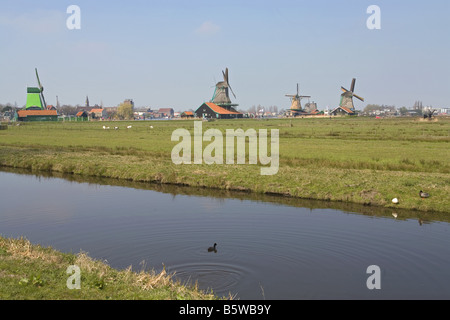 windmills in the open-air museum Zaanse Schans - Stock Photo